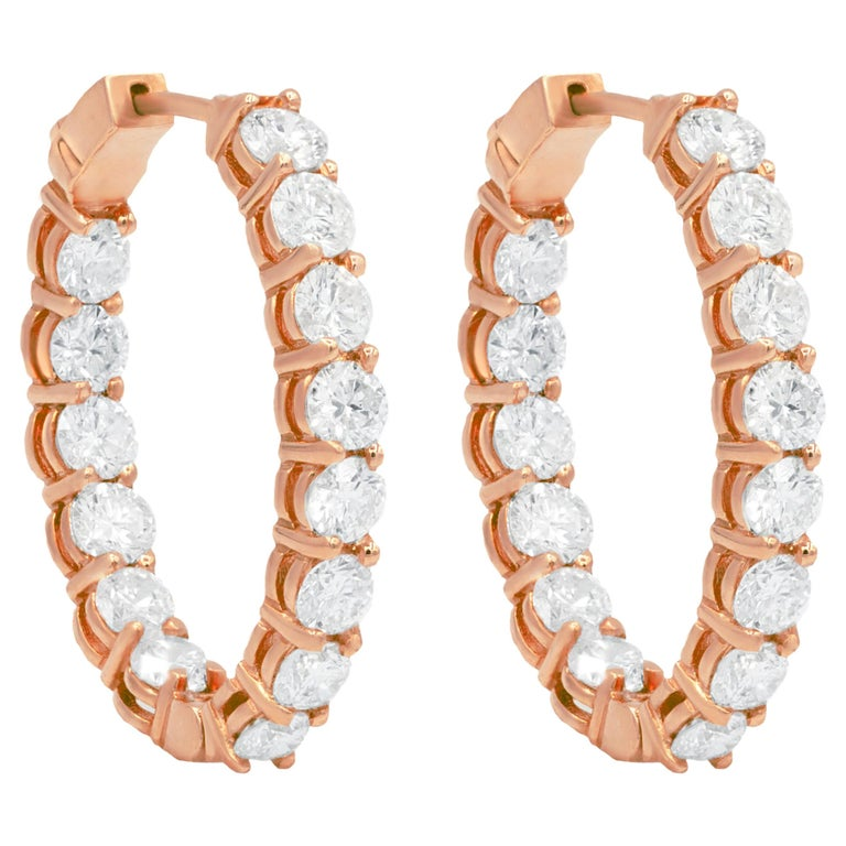 6.60 Carat Yellow Gold Diamond Hoops, 0.25 Each Stone For Sale