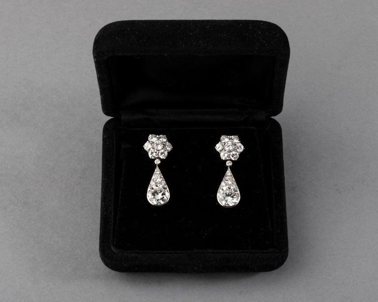 6.60 Carat Diamonds French Art Deco Earrings For Sale 6