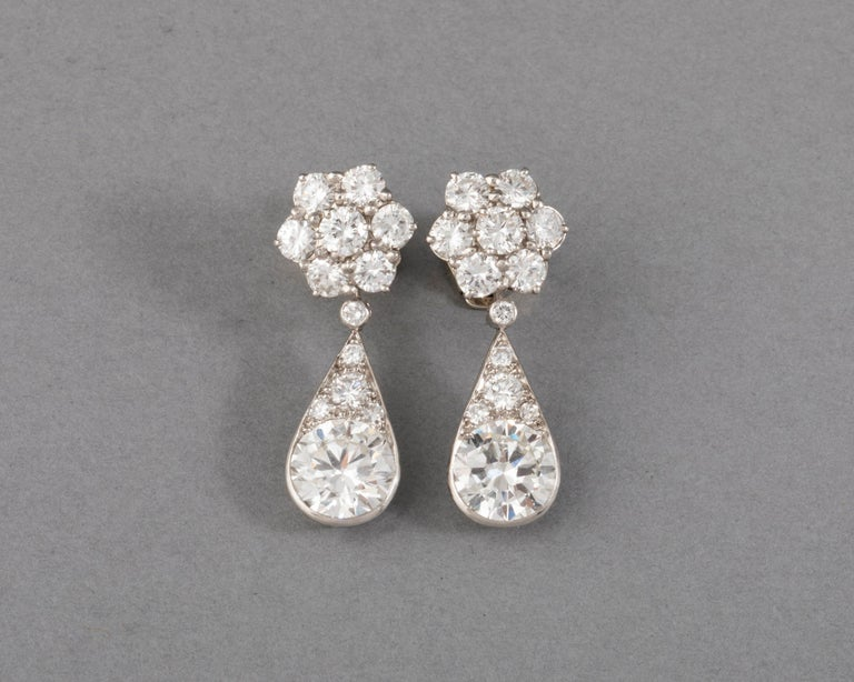 6.60 Carats Diamonds French Art Deco Earrings  Very beautiful pair of earrings, made in France circa 1930.  Made in Platinum (dog head marks) and white gold (eagle head marks). Mark of the Maker (Unknown). The diamonds are very good quality, the two