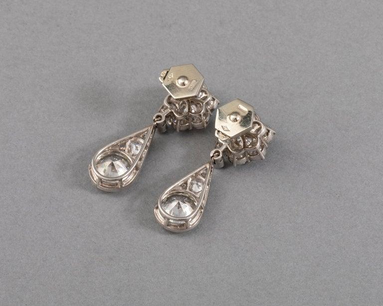 Women's 6.60 Carat Diamonds French Art Deco Earrings For Sale
