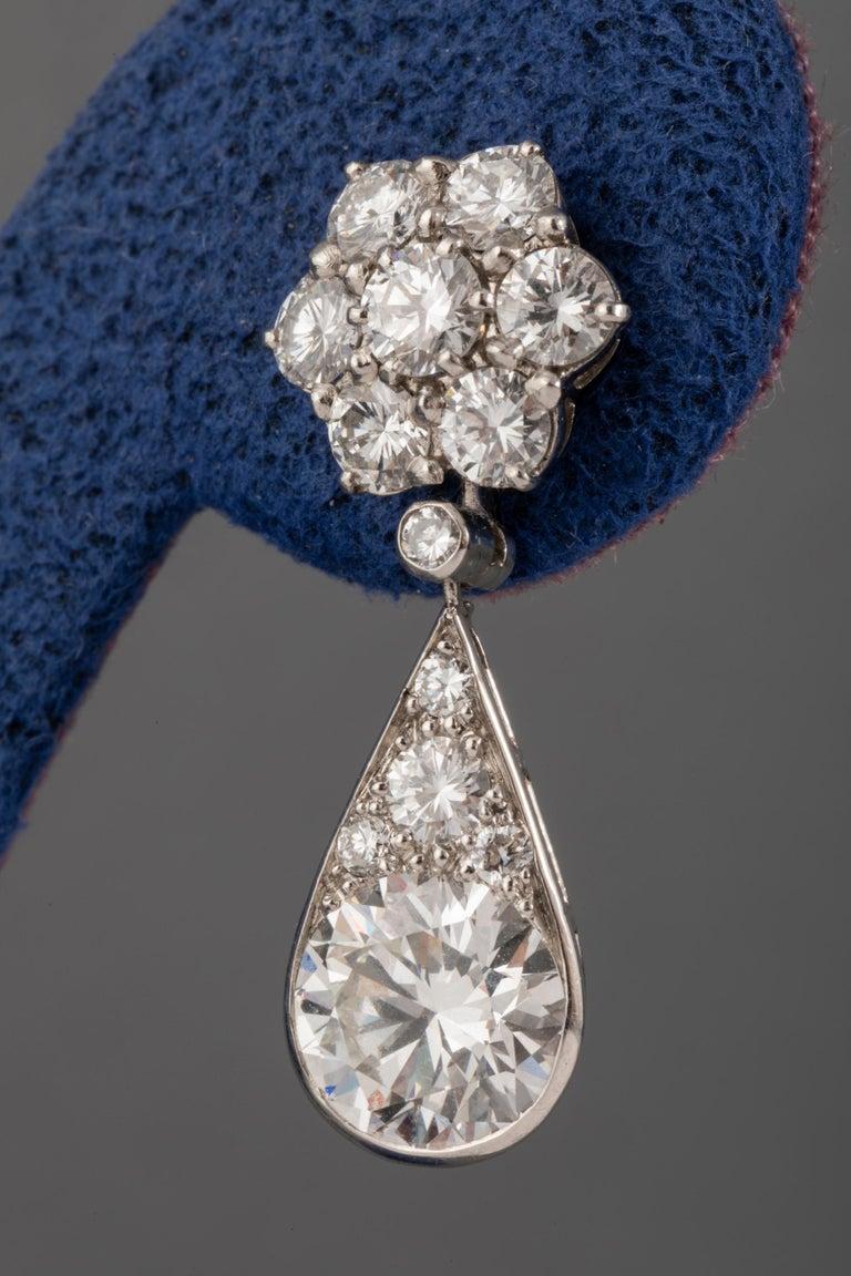 6.60 Carat Diamonds French Art Deco Earrings For Sale 5