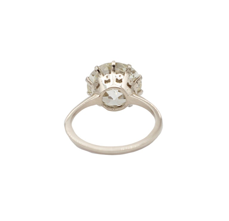 Retro 6.60 Ct Diamond, 18kt White Gold Solitaire/Engagement Ring For Sale