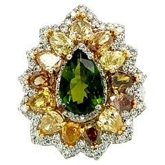 6.60 Ct Green Tourmaline & Multi-Color Diamond Ring in 18kt White Gold
