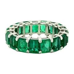 6.60 Ct Platinum Emerald Eternity Band Ring