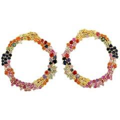 6.61 Carat Multi Stone Sapphire 18 Karat Gold Stud Earrings