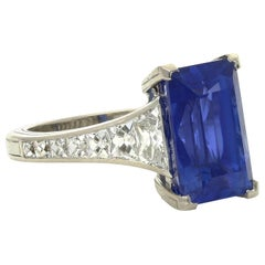 6.61ct Unheated Ceylon Sapphire with French-Cut Diamond Shoulder Platinum Ring