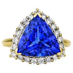 6.62 Carat 14 Karat Yellow Gold Trillion Tanzanite Diamond Cocktail Ring