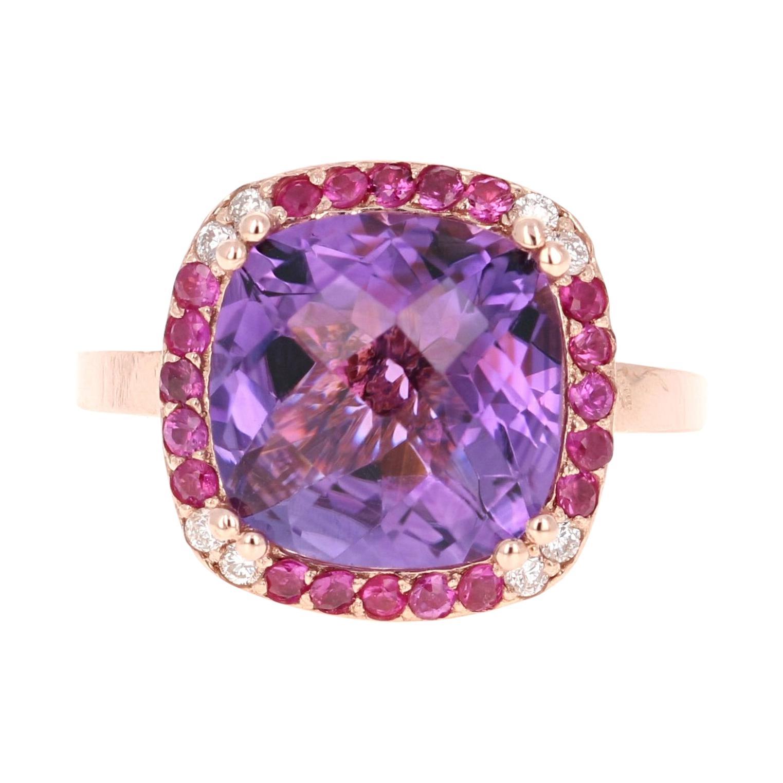 6.63 Carat Amethyst Pink Sapphire Diamond 14 Karat Rose Gold Cocktail Ring