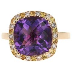 6.63 Carat Amethyst Yellow Sapphire Diamond 14 Karat Yellow Gold Cocktail Ring