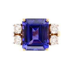 6.63 Carat Emerald-Cut Tanzanite Diamond Gold Cocktail Ring Estate Fine Jewelry