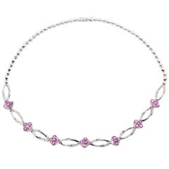 6.63 Carat Pink Sapphire Diamond 18 Karat White Gold Link Necklace