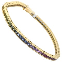 6.63 Carat Rainbow Sapphire 18 Karat Yellow Gold Bracelet