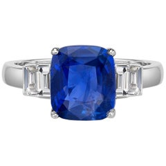 6.63 Carat Royal Blue Sapphire GRS Certified Non Heated Diamond Ring Cushion Cut