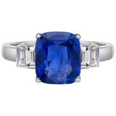 6.63 Carat Sri Lanka Sapphire GIA Certified Sri Lanka Diamond Ring Cushion Cut