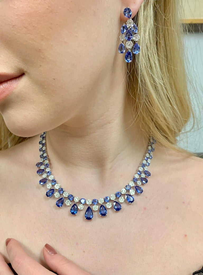 66.36 Carat Tanzanite Necklace Earrings Set For Sale 4