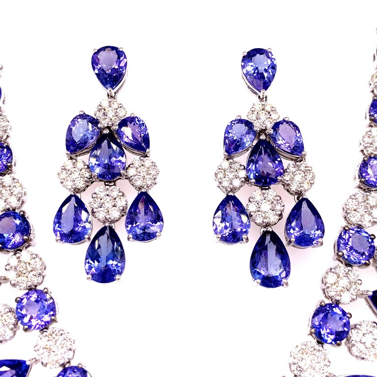 Contemporary 66.36 Carat Tanzanite Necklace Earrings Set For Sale
