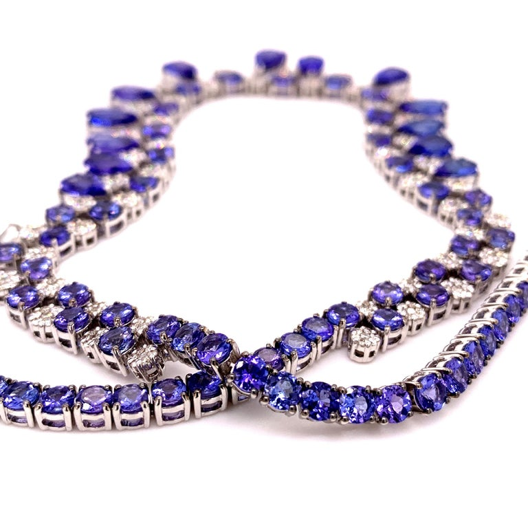 66.36 Carat Tanzanite Necklace Earrings Set In New Condition For Sale In Richmond, BC