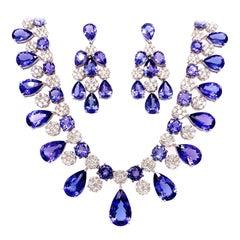 66.36 Carat Tanzanite Necklace Earrings Set