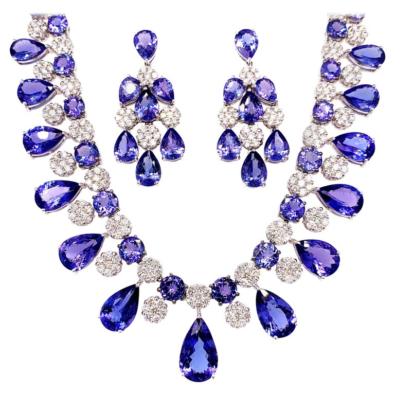66.36 Carat Tanzanite Necklace Earrings Set For Sale