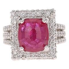 6.64 Carat Ruby Diamond Platinum Cocktail Ring