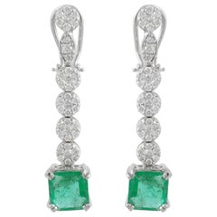 6.65 Carat Diamond Emerald 18 Karat White Gold Earrings