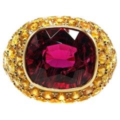 6.65 Carat Gem Rubelite and Yellow Sapphire 18 Karat Gold Ring