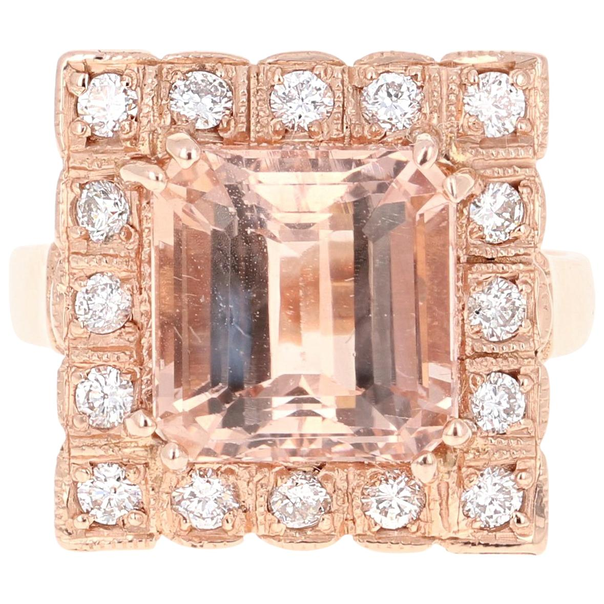 6.65 Carat Morganite Diamond 14 Karat Rose Gold Cocktail Ring