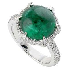 6.66 Carat Emerald Diamond 18 Karat Gold Ring