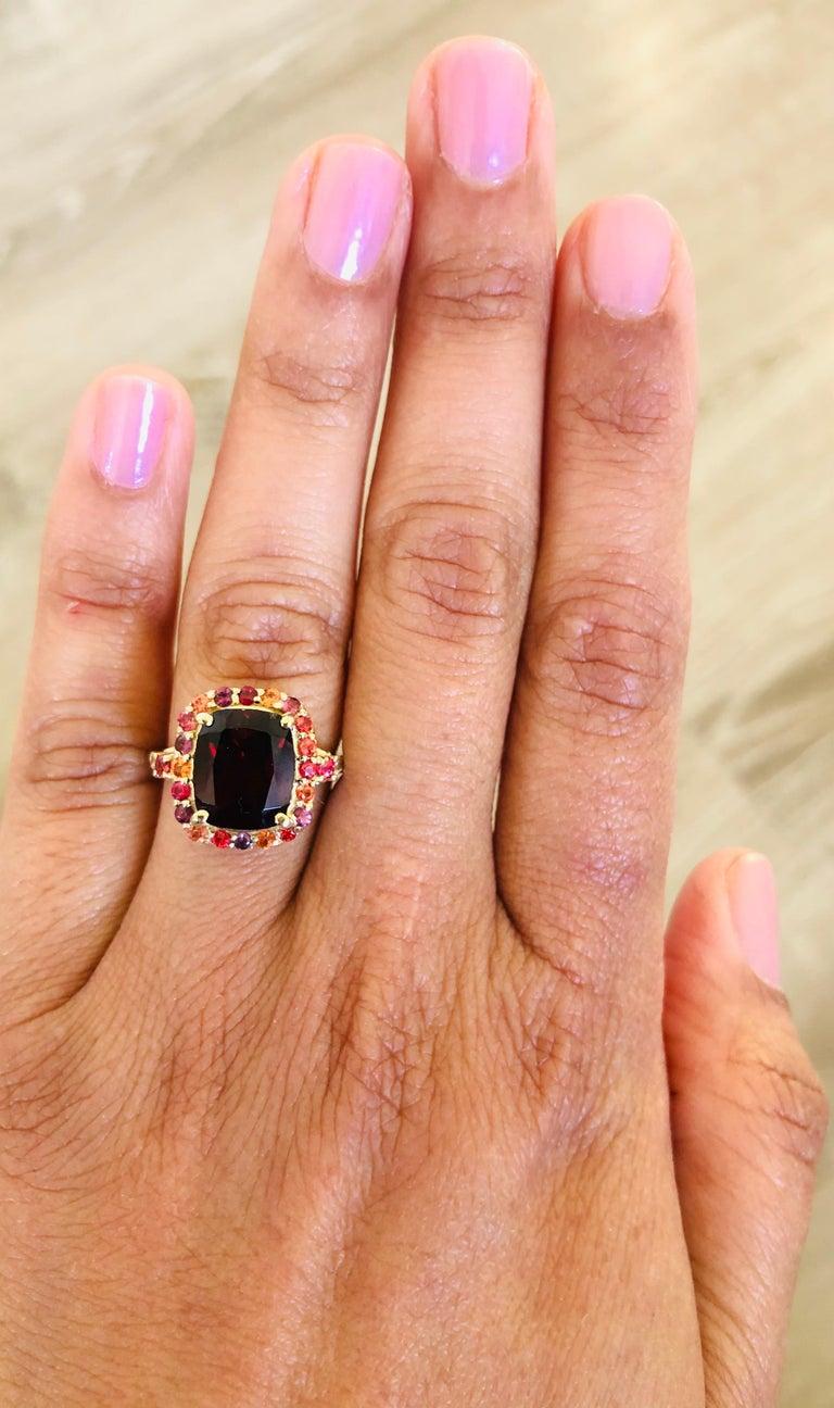 6.66 Carat Garnet Sapphire Diamond 14 Karat Yellow Gold Ring In New Condition For Sale In San Dimas, CA