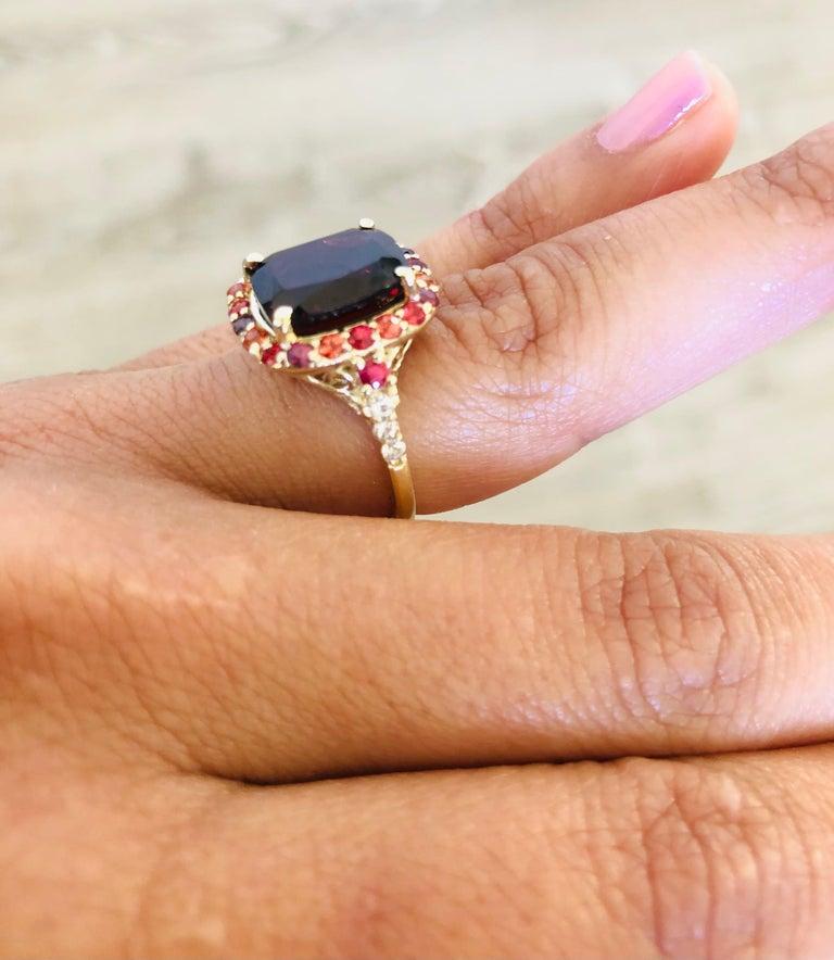Women's 6.66 Carat Garnet Sapphire Diamond 14 Karat Yellow Gold Ring For Sale