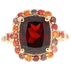 6.66 Carat Garnet Sapphire Diamond 14 Karat Yellow Gold Ring
