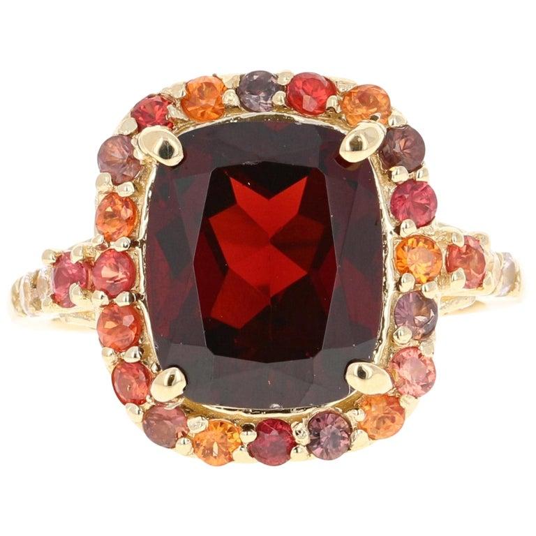6.66 Carat Garnet Sapphire Diamond 14 Karat Yellow Gold Ring For Sale