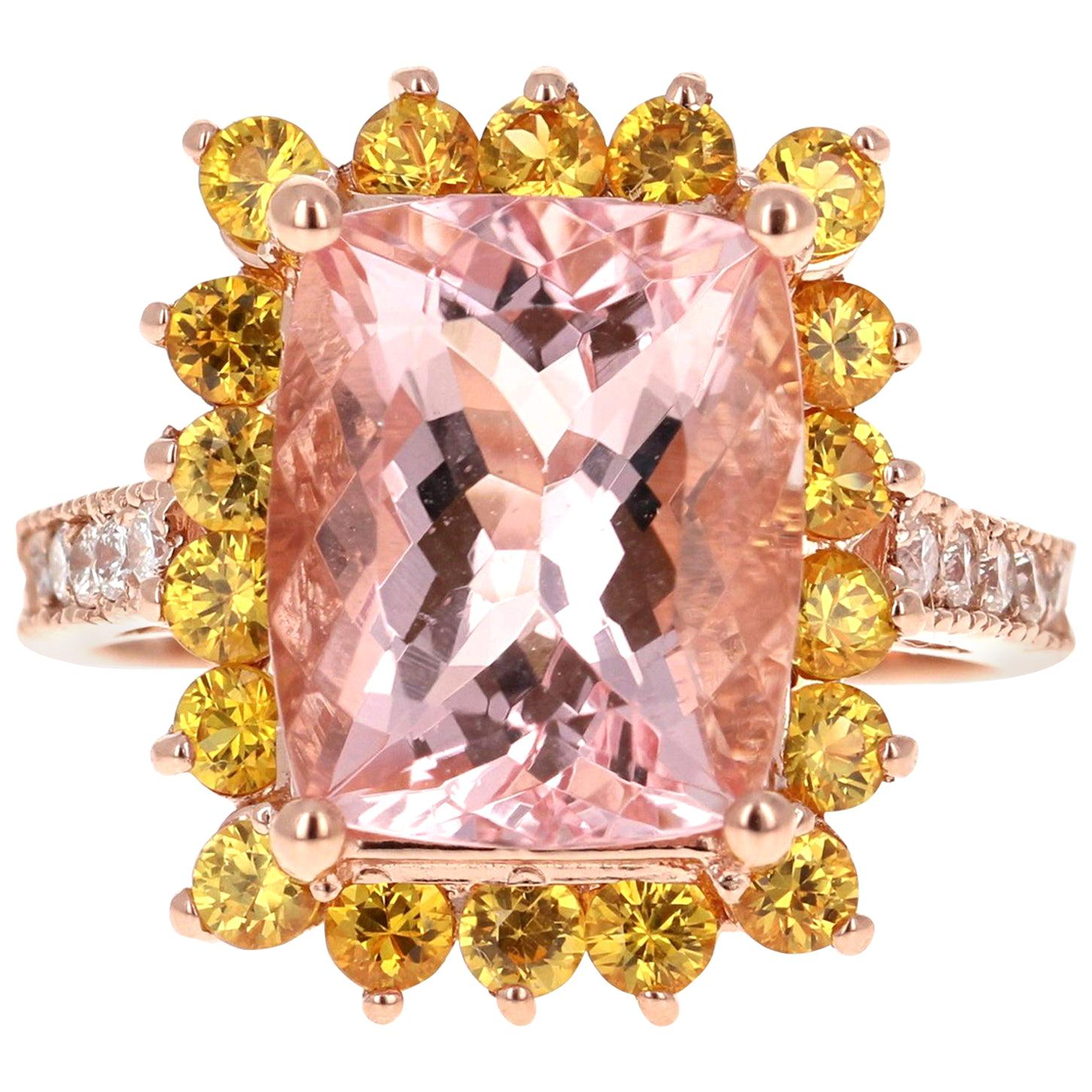 6.66 Carat Morganite, Sapphire and Diamond 14 Karat Rose Gold Engagement Ring