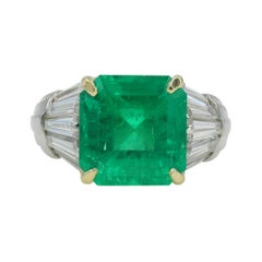 6.66 Carat Natural Columbian Emerald and Diamond Platinum Ring, AGL Certified