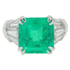 6.66 Carat Natural Columbian Emerald and Diamond Platinum Ring, AGL Certified
