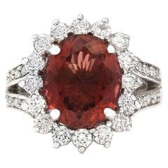 6.66 Carat Natural Tourmaline 18 Karat White Gold Diamond Ring