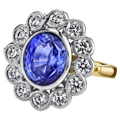 6.67 Carat Cornflower Blue Sapphire and Diamond, Yellow White Gold Cocktail Ring