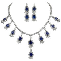 66.75 Carat Blue Sapphire and Diamond Earrings and Necklace Set