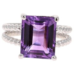 6.68 Carat Emerald Cut Amethyst White Gold Solitaire Ring