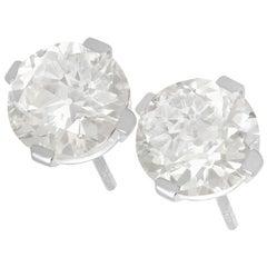 6.69 Carat Diamond and Platinum Stud Earrings