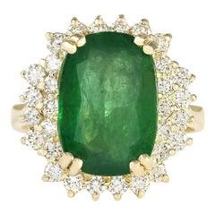6.69 Carat Emerald 18 Karat Yellow Gold Diamond Ring