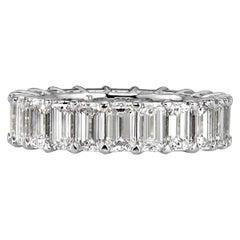 Mark Broumand 6.69 Carat Emerald Cut Diamond Eternity Band in 18k White Gold