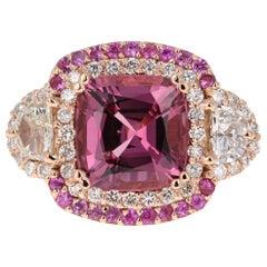 6.69 Carat No Heat Spinel Diamond 18 Karat Rose Gold GIA Certified Ring