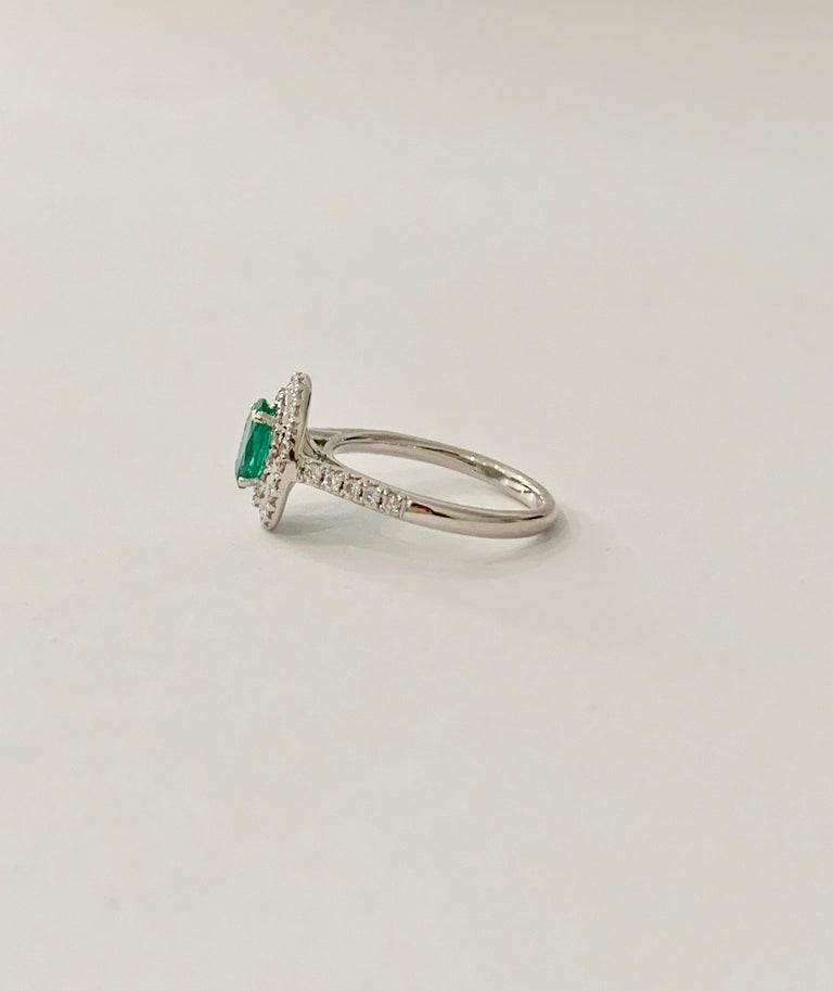 Women's .66 Carat AAAA Oval Emerald Set in Double Diamond Halo Ring in 18ct White Gold For Sale