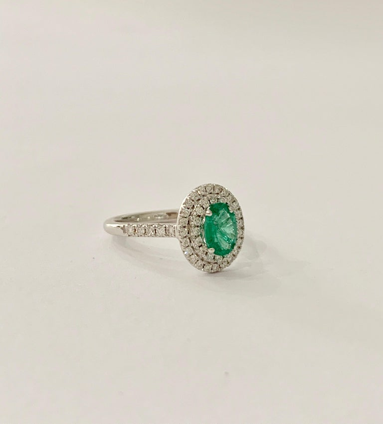 .66 Carat AAAA Oval Emerald Set in Double Diamond Halo Ring in 18ct White Gold For Sale 2