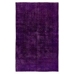 6.6x10 Ft Solid Purple Color Over-Dyed Vintage Handmade Rug, Wool Turkish Carpet