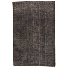 6.7x10.2 Ft Vintage Turkish Rug Over-Dyed in Gray Color for Modern Interiors