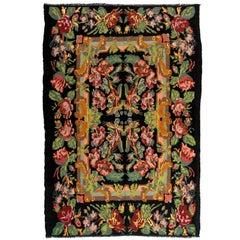 6.8x9.8 Ft Vintage Bessarabian Kilim, Floral Handwoven Wool Rug from Moldova