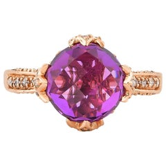 6.7 Carat Amethyst and Diamond Ring in 14 Karat Rose Gold