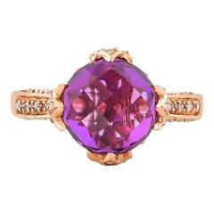 6.7 Carat Amethyst and Diamond Ring in 14 Karat Rose Gold